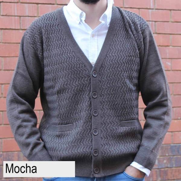 Anset Acrylic Wool Zip-up Cardigan Mocha Front