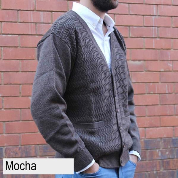 Anset Acrylic Wool Zip-up Cardigan Mocha Side