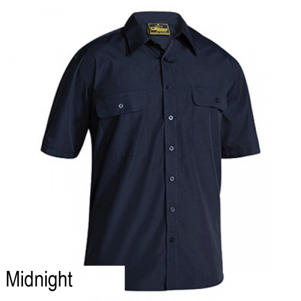 Bisley Permanent Press Short Sleeve Shirt navy