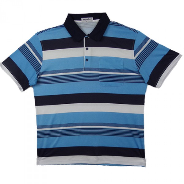 Maurio Poly/Cotton Short Sleeve Striped Polo-Blue