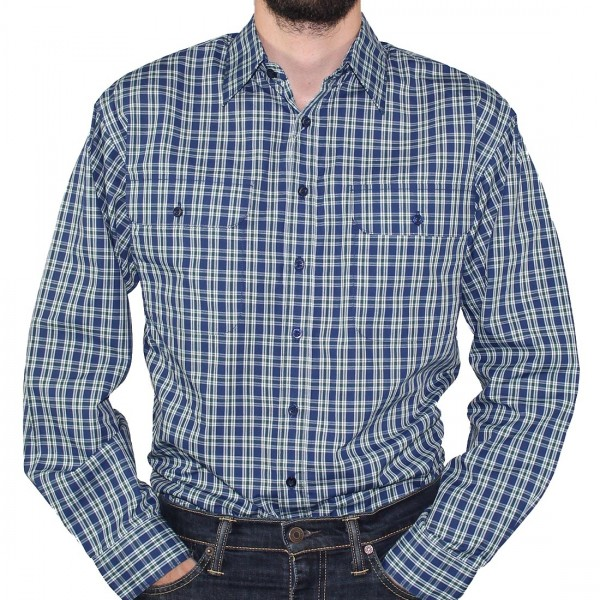 Bisley Long Sleeve Check Poly/Cotton Shirt Green