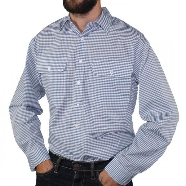 Bisley Long Sleeve Check Poly/Cotton Shirt Light Grey