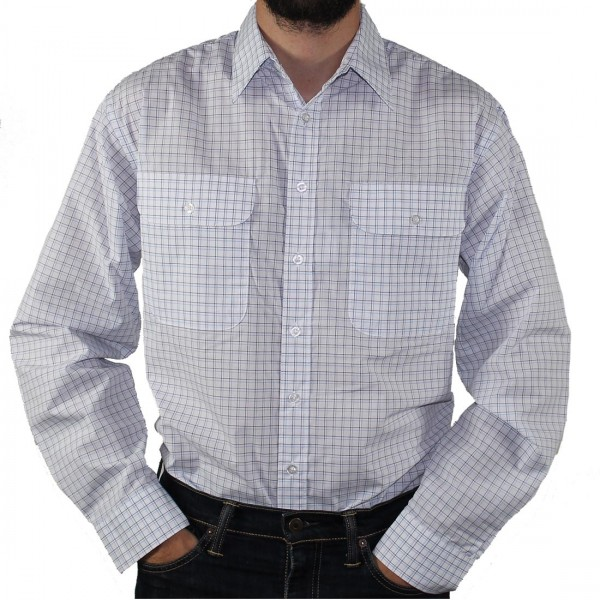Bisley Long Sleeve Check Poly/Cotton Shirt White