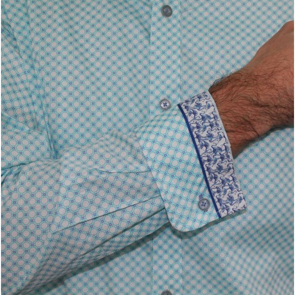 James Harper Long Sleeve Circle Geo Shirt Cuff