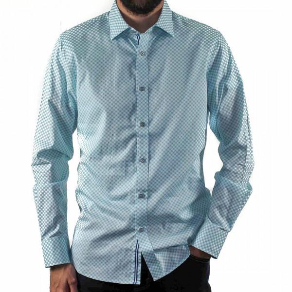 James Harper Long Sleeve Circle Geo Shirt Front