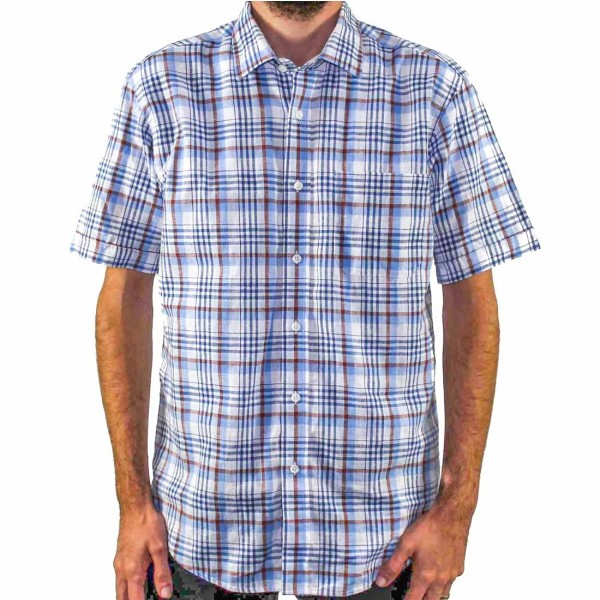 Back Bay Short Sleeve Cotton/Linen Shirt Front