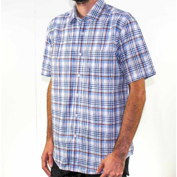 Back Bay Short Sleeve Cotton/Linen Shirt Side