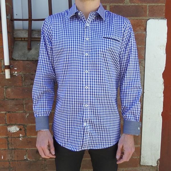 Nickel Long Sleeve Royal/Peach Cotton Check Shirt