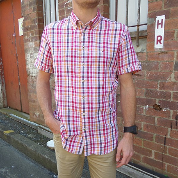 Daniel Hechter Linen Orange/Red Checked Short Sleeve Shirt