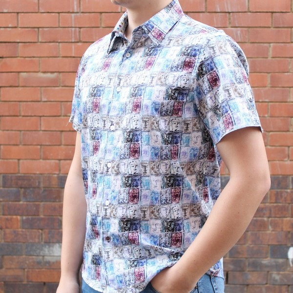 John Lennon By English Laundry Short Sleeve Chesil Print Shirt Side