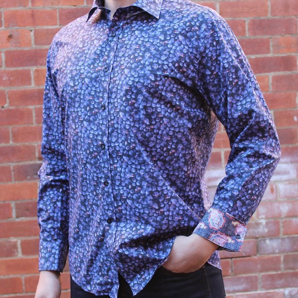 David Smith Blueberry Print Long Sleeve Shirt
