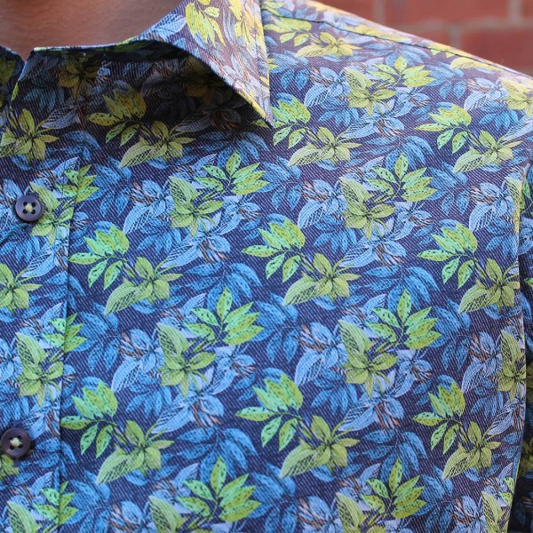David Smith Leaf Print Long Sleeve Shirt Front Close