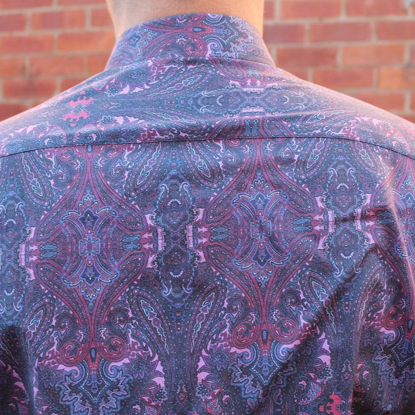David Smith Purple Paisley Print Long Sleeve Shirt Back