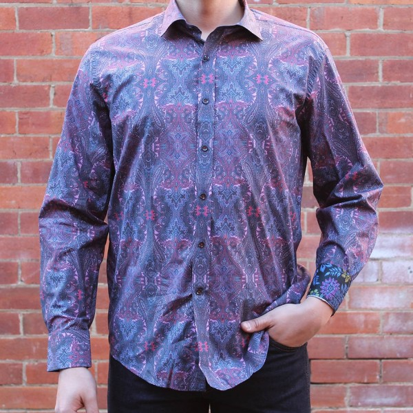 David Smith Purple Paisley Print Long Sleeve Shirt Front