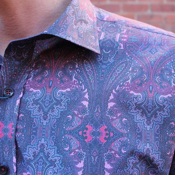 David Smith Purple Paisley Print Long Sleeve Shirt Front Close