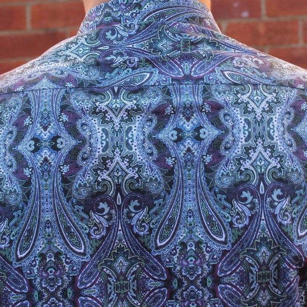 David Smith Blue Paisley Print Long Sleeve Shirt Back