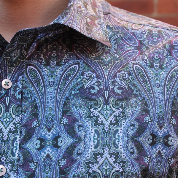 David Smith Blue Paisley Print Long Sleeve Shirt Close Fornt