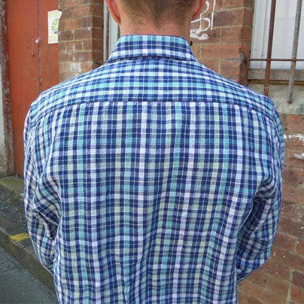 Daniel Hechter Linen Blue Check Long Sleeve Shirt