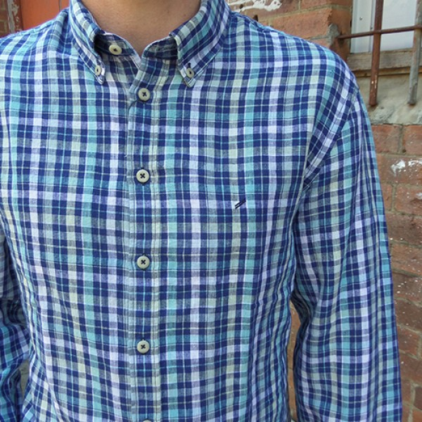 Daniel Hechter Linen Blue Check Long Sleeve Shirt