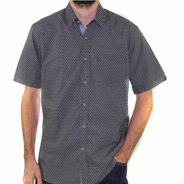 Stafford Ellinson Short Sleeve Geo Print Shirt Front
