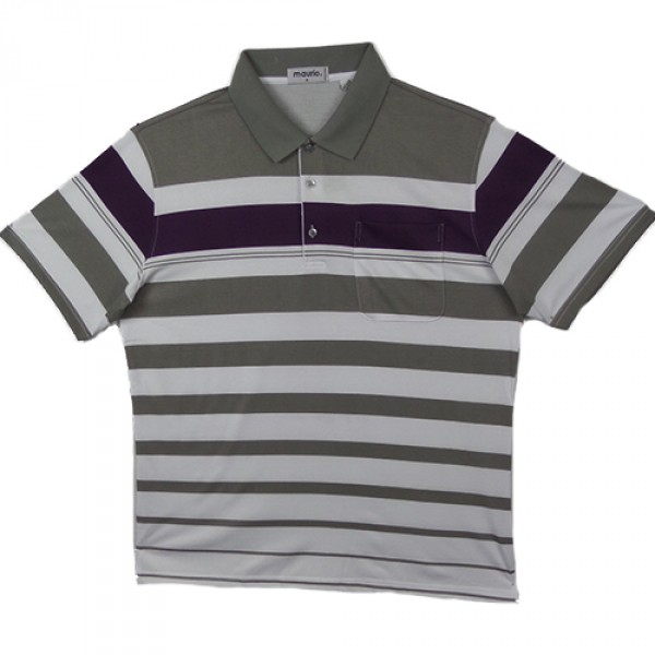 Maurio Poly/Cotton Short Sleeve Striped Polo-Purple
