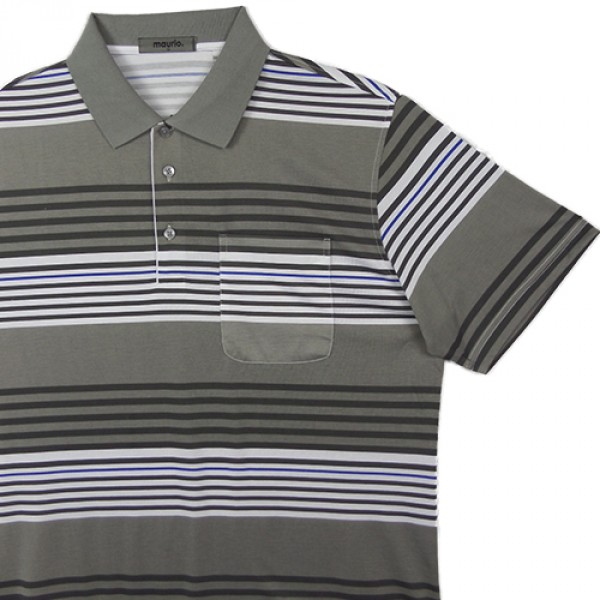 Maurio Poly/Cotton Short Sleeve Striped Polo-Grey