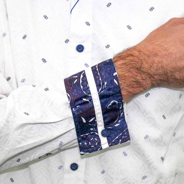 John Lennon By English Laundry Long Sleeve Jacquard Shirt Cuff