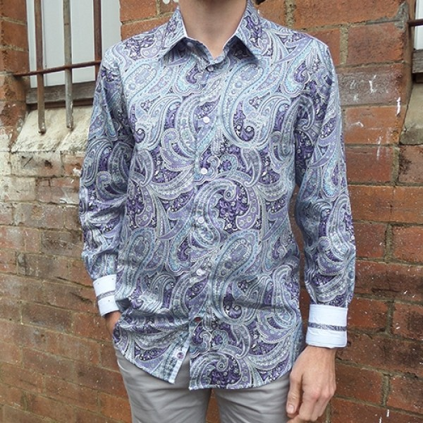 John Lennon By English Laundry Lilac Paisley Shirt