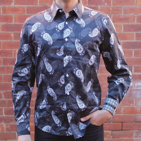 John Lennon By English Laundry Long Sleeve Hucknall Paisley Print Shirt Front