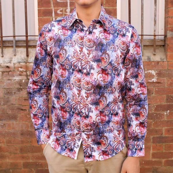 John Lennon By English Laundry Long Sleeve Grant Print Shirt