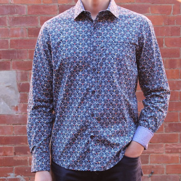 Berlin Stud Print Long Sleeve Shirt Front