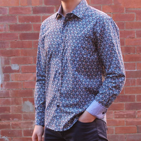 Berlin Stud Print Long Sleeve Shirt Side