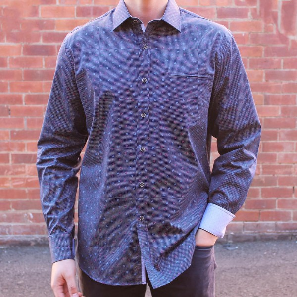 Berlin Leaf Print Long Sleeve Shirt Front