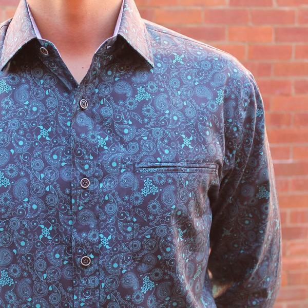 Berlin Swirl Print Long Sleeve Shirt Close
