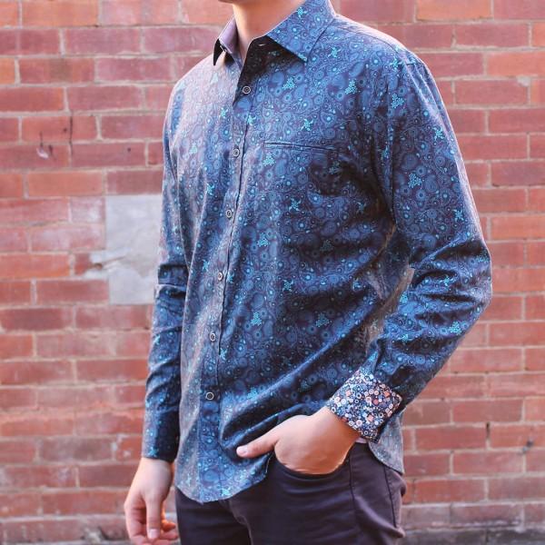 Berlin Swirl Print Long Sleeve Shirt Side