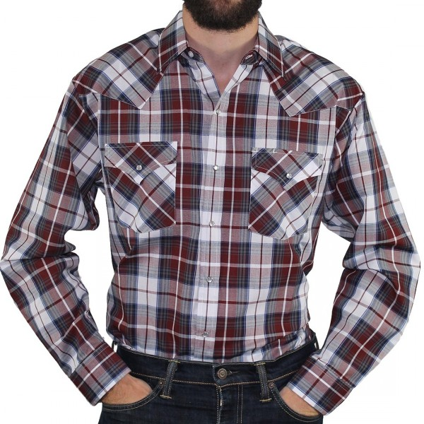 Long Sleeve 2PKT Western Shirt - Burgundy - Hero