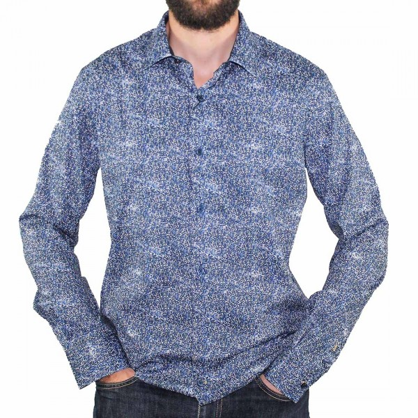 Cutler L/S French Navy Dress Shirt Front