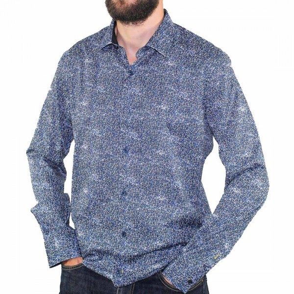 Cutler L/S French Navy Dress Shirt Side