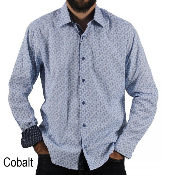 Scoop Long Sleeve Printed Shirt Cobalt