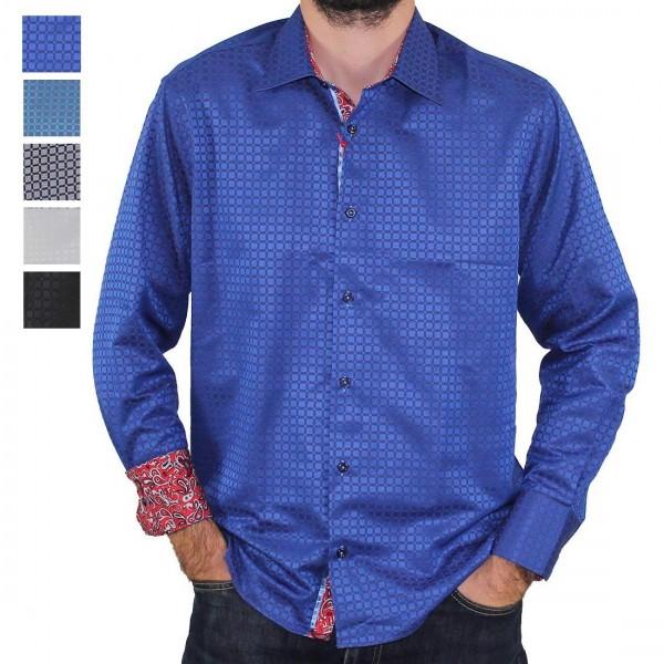 Sugar Long Sleeve Square Print Shirt Royal