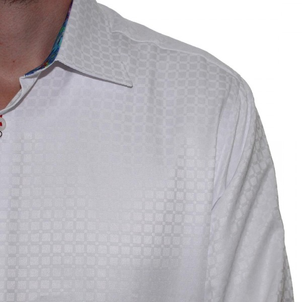 Sugar Long Sleeve Square Print Shirt White