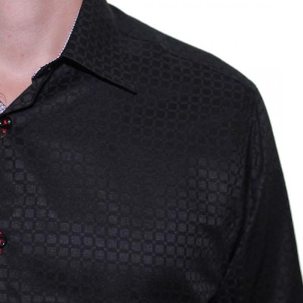 Sugar Long Sleeve Square Print Shirt Black