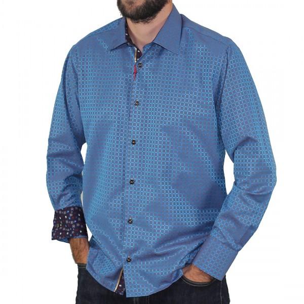 Sugar Long Sleeve Square Print Shirt Turquoise