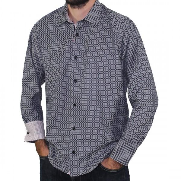 Sugar Long Sleeve Square Print Shirt Cedar