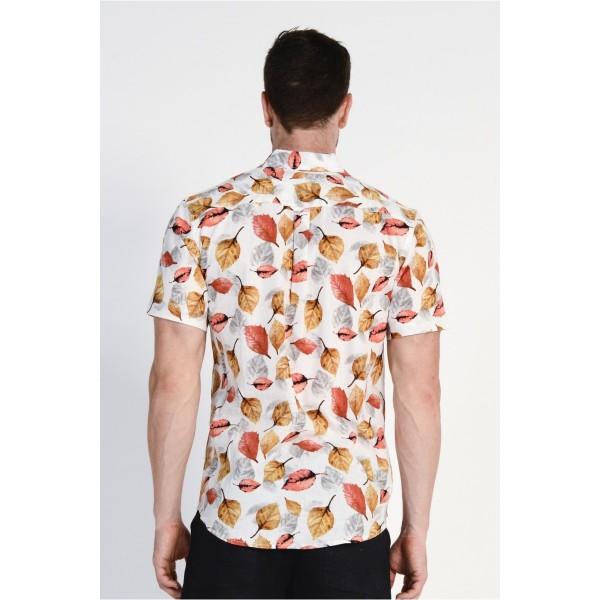 Braintree Hemp/Cotton Leaf Print Shirt