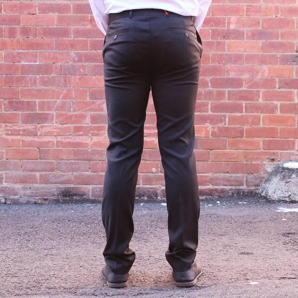 New England Code Black Wool Blend Trouser Back