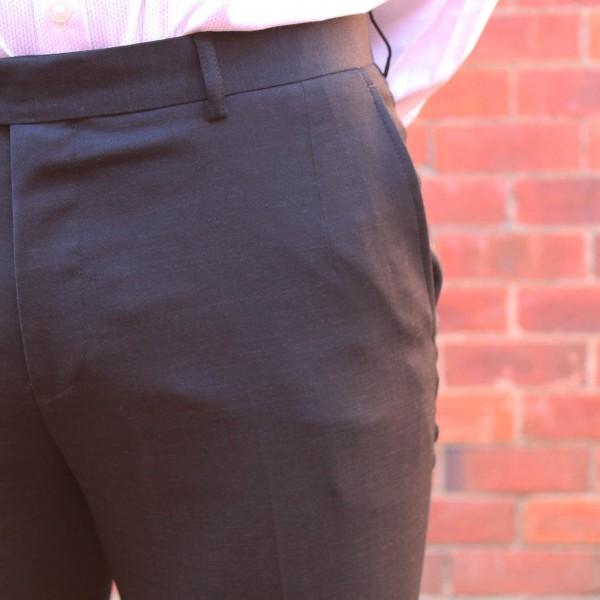 New England Code Black Wool Blend Trouser Close