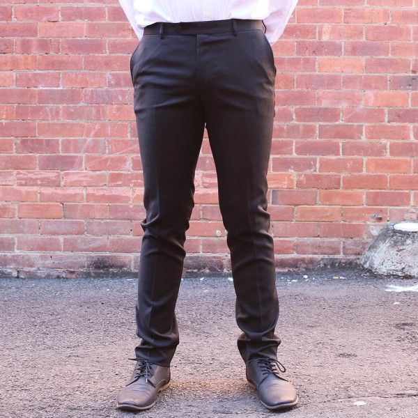 New England Code Black Wool Blend Trouser Front