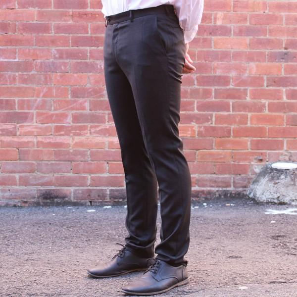 New England Code Black Wool Blend Trouser Side