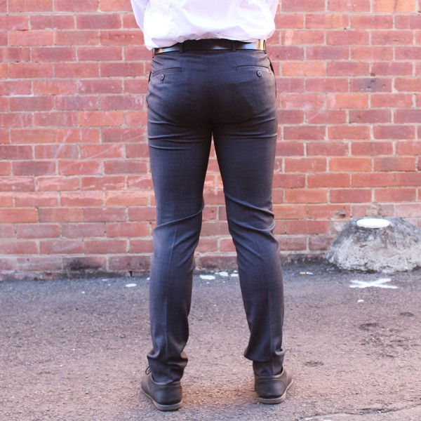 New England Code Charcoal Wool Blend Trouser Back